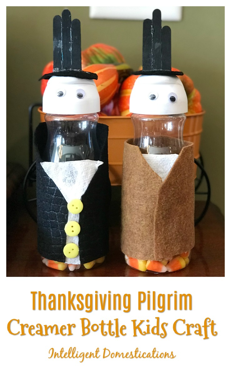 Thanksgiving Pilgrim Creamer Bottle Kids Craft. How to make a Pilgrim from a creamer bottle. Kids craft idea for Thanksgiving.