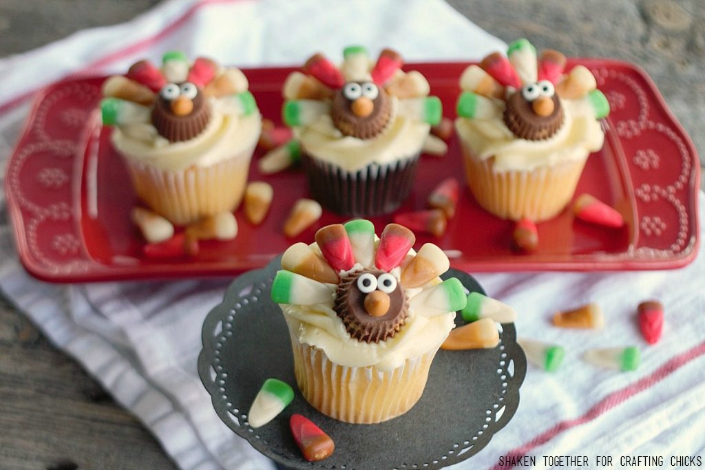Candy Corn Thanksgiving Turkey Cupcakes Featured at Merry Monday Link Up 181