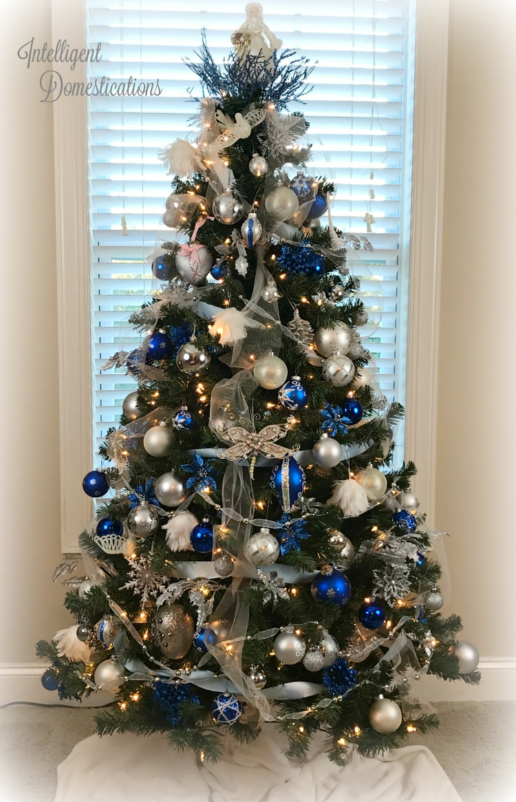 Blue And White Christmas Tree Decorations Intelligent Domestications
