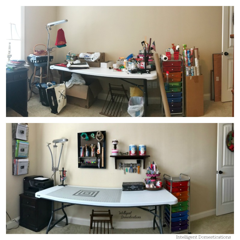My Craft Space Makeover. Before and After photos of my craft space makeover. Craft space makeover reveal. Before and After Craft space makeover.