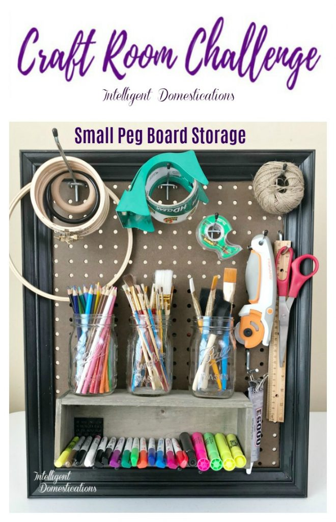 Craft Room Peg Board. Small peg board craft room storage ideas. Craft Room Makeover Storage Solutions