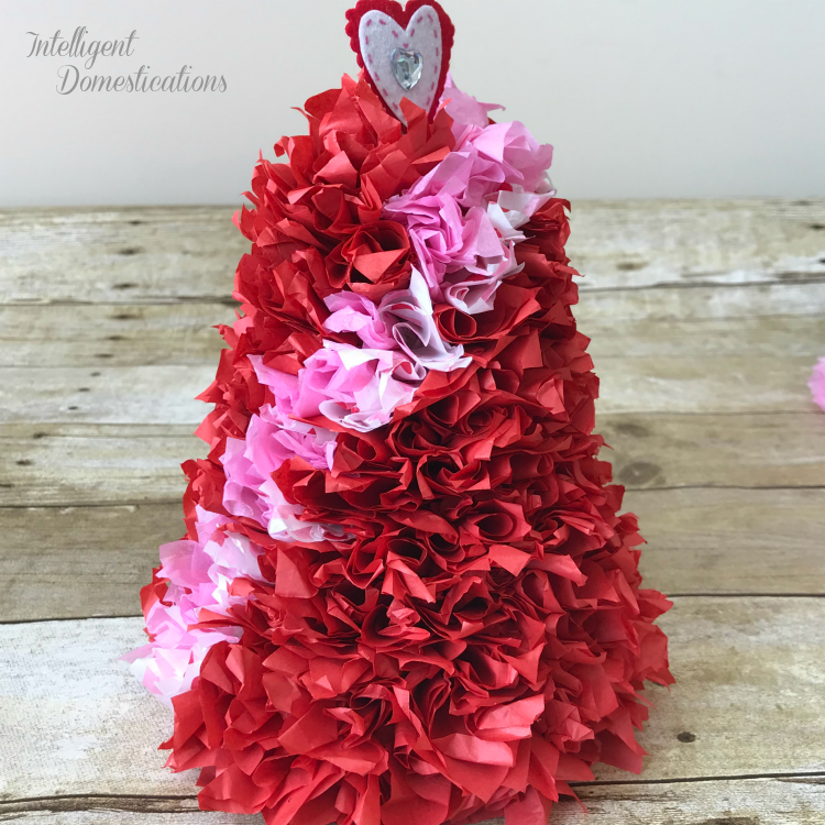 How To Make A Tissue Paper Cone Tree for Valentine's decor. Cheap and easy Valentines home decor. #Valentines #conetree