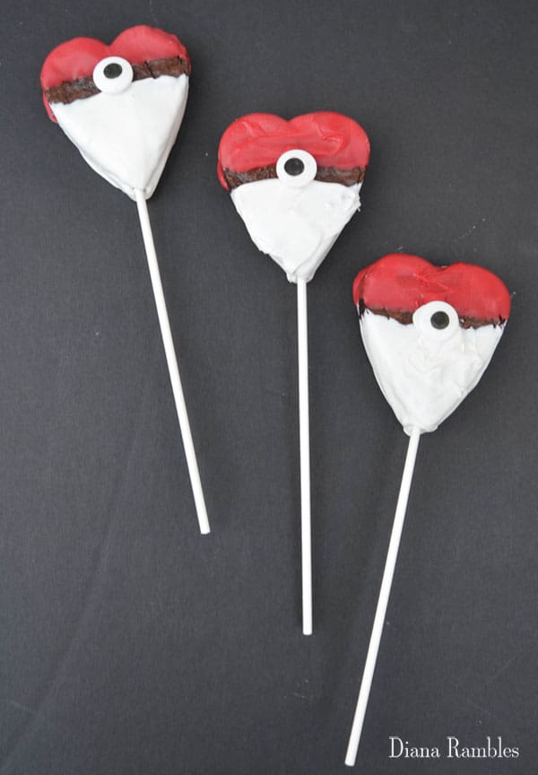 Pokémon Brownie Hearts on a Stick Recipe for Valentine's Day