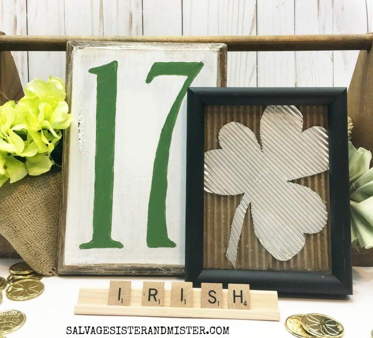 Thrift Store Makeover St. Patrick's Day Sign vignette