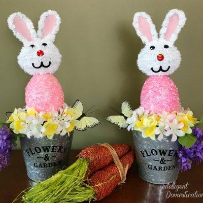 Whimsical Easter Bunny Flower Pail Decor