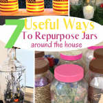 4 pictures of jars being used for different purposes. Patriotic decor, decorated for storage, Halloween decor and Christmas table centerpiece