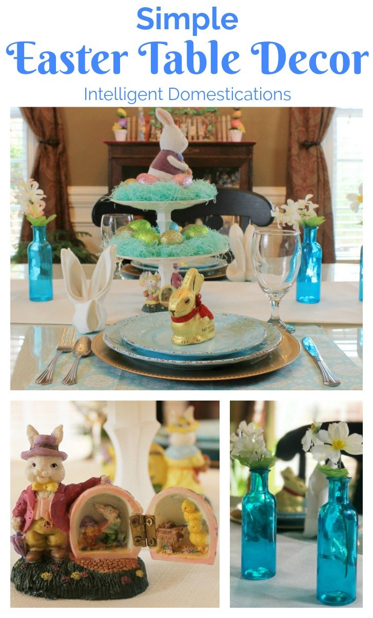 Simple Easter Table Decor. Easter Table Decorations. Blue Easter Table setting