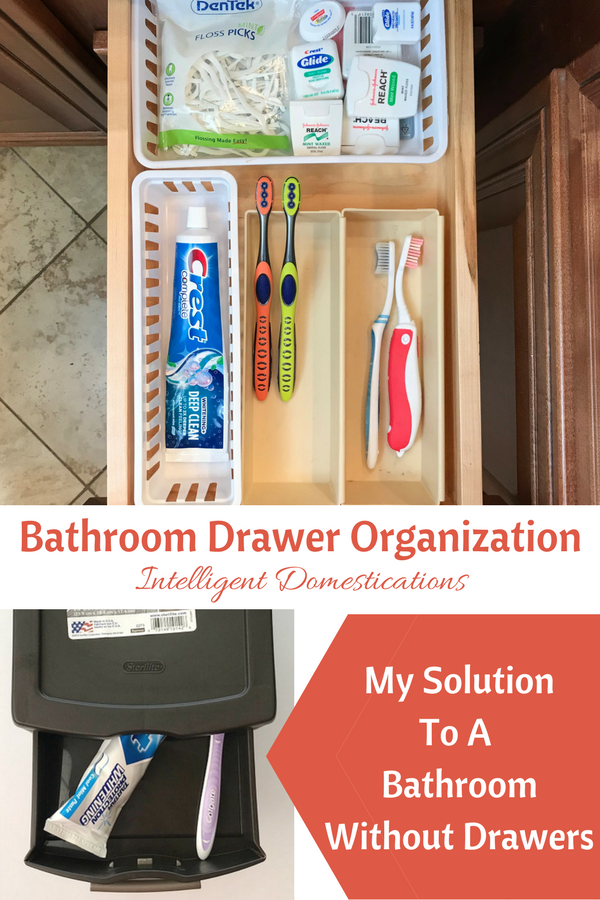 Bathroom Drawer Organization Ideas. My solution to a bathroom without drawers.