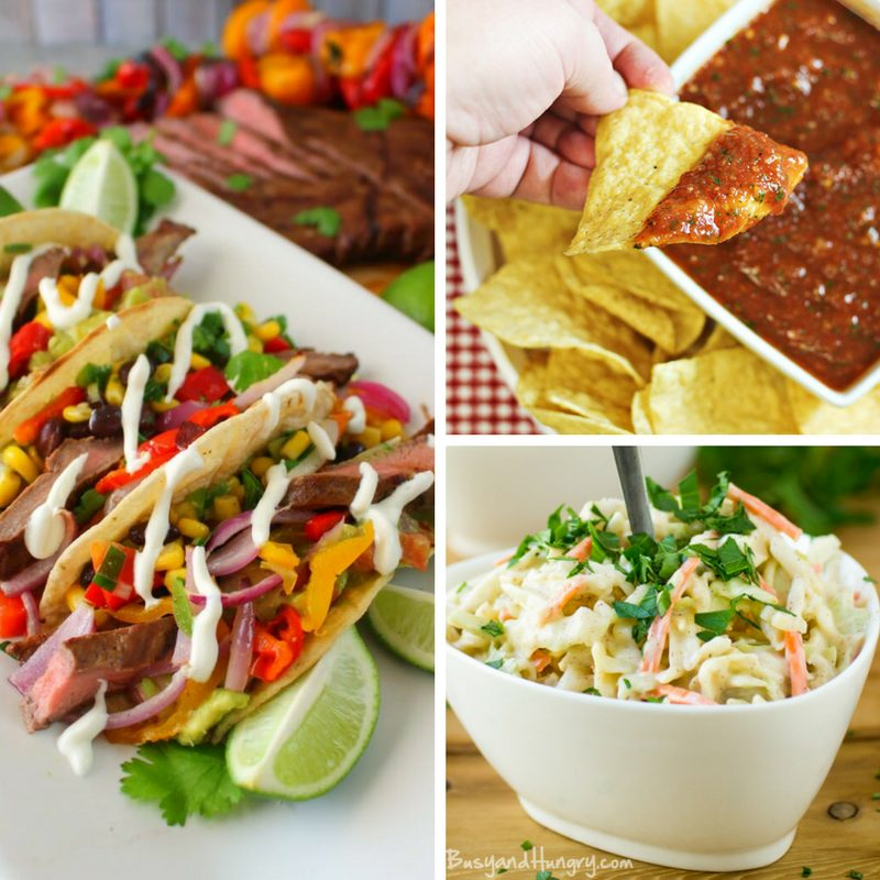 These 15 Mexican Dinner Recipe Ideas are all perfect for any weeknight meal so be sure to add them to your menu! Mexican weeknight meal ideas. Easy Mexican recipes. Homemade Salsa recipe. Homemade Lime coleslaw #mexicanmeal #mexicanrecipes #cincodemayo