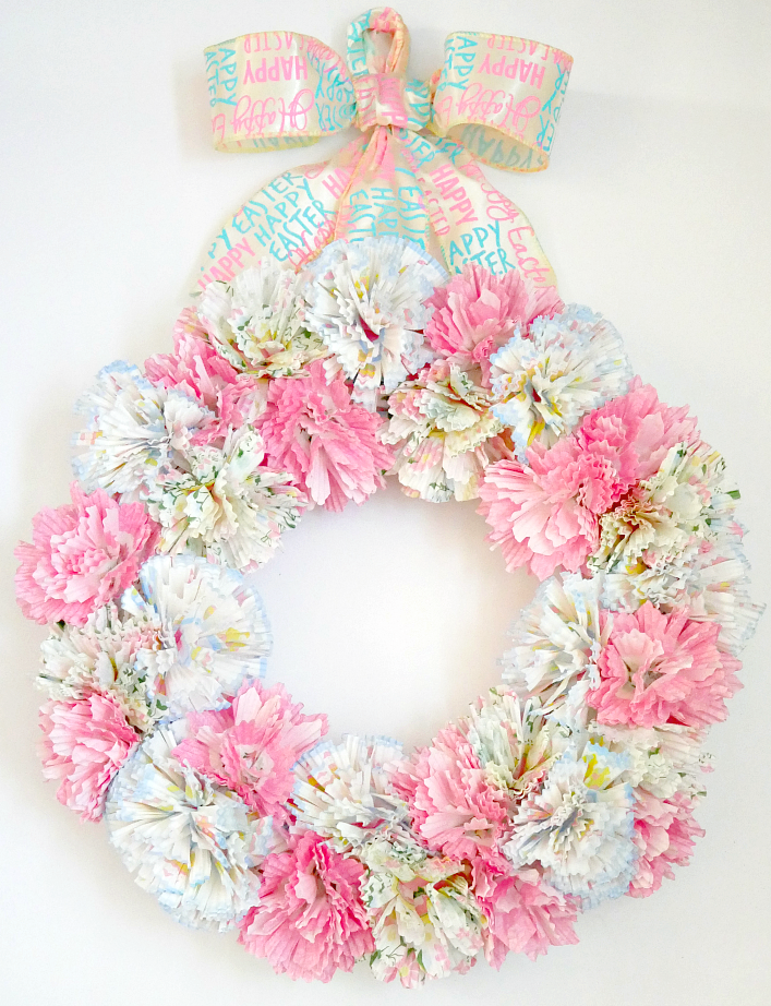 How to make a cupcake liner wreath. Cupcake liner flower wreath tutorial. Welcome Spring Blog Hop Feature. photo of cupcake flower wreath