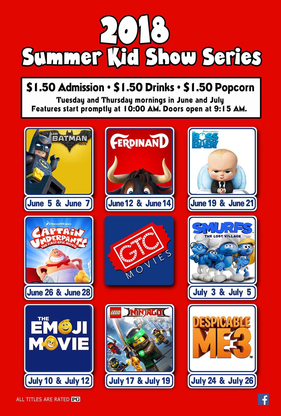 2018 Summer Kid Show Series at GTC Movies