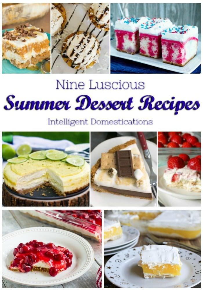 Nine Luscious Summer Dessert Recipes featured at the Merry Monday Blog Party. Summer Dessert ideas. Summer desserts #summerdessert