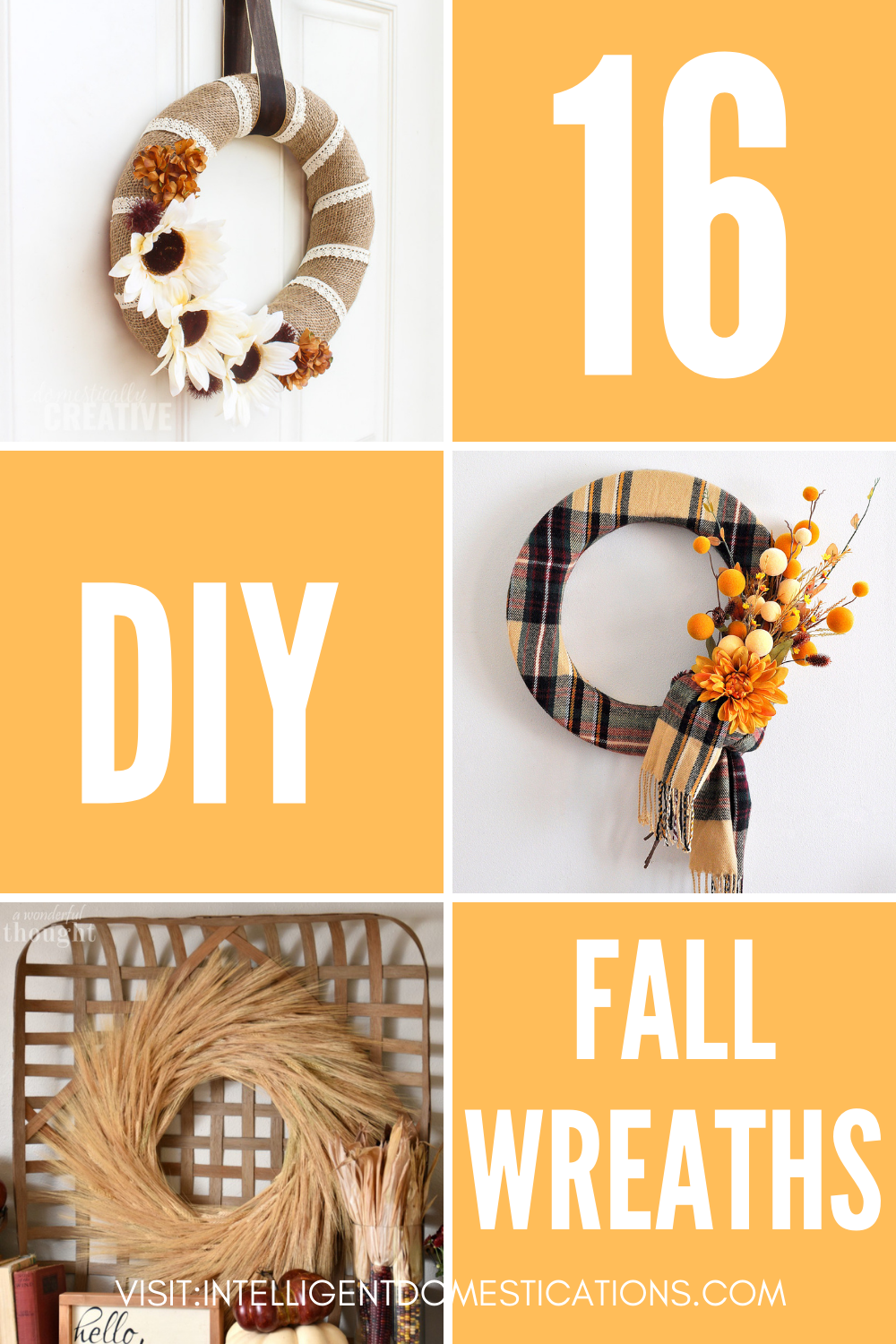 Pictures of three Fall Wreaths