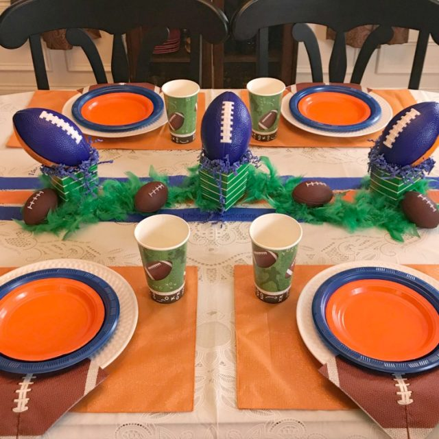 SEC Auburn Football Tablescape. Blue and Orange Football Party Table Decor.