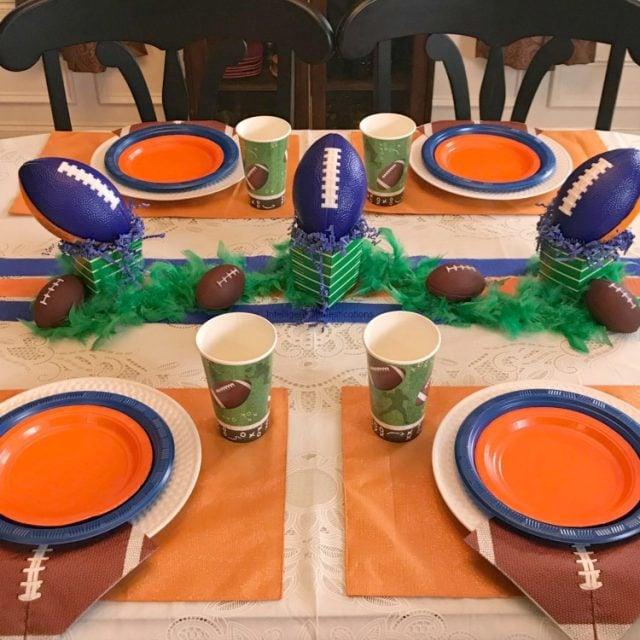 SEC Auburn Football Tablescape. Blue and Orange Football Party Table Decor.