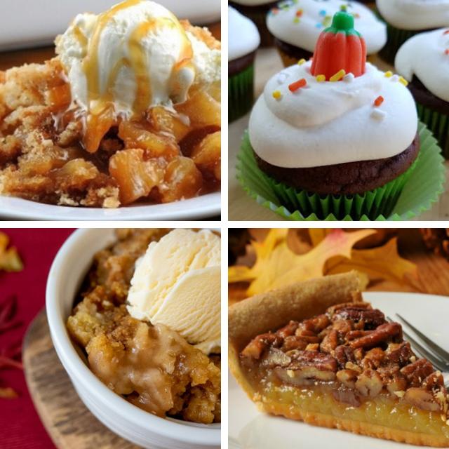 Fall Food ideas featuring pecans, apples, pumpkin and caramel apple combo