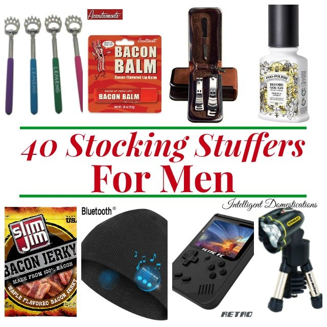 40 Stocking Stuffers for men. Stocking Stuffer ideas for Men's Christmas Stockings. Links provided for these 40 Men's Stocking Stuffer Ideas #Christmas #Christmasstockings