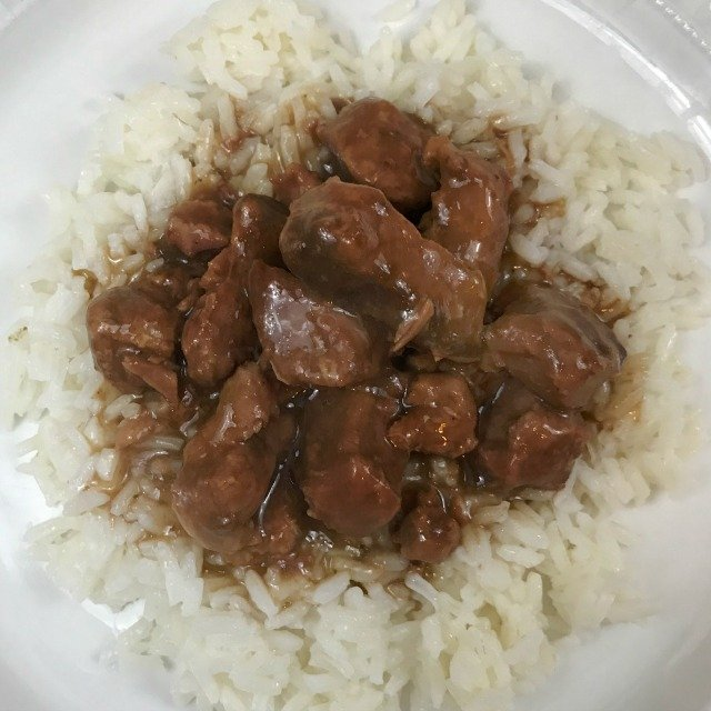 Beef Tips and Gravy served over Rice