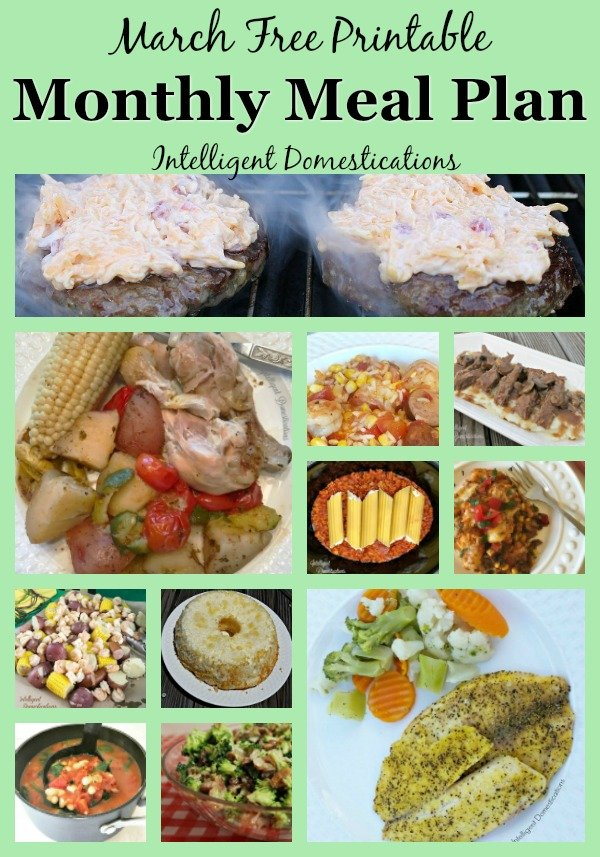 Free printable Monthly Meal Plan for March 2019. Weeknight dinner ideas complete with recipes. Meatless Mondays, Taco Tuesdays and everything in between. Celebration meals for Mardi Gras, St. Patrick's Day and Spring. #mealplan #weeknightmealideas