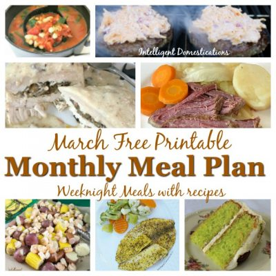 March Monthly Meal Plan Free Printable