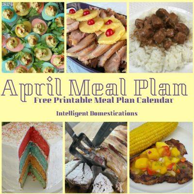 April Meal Plan Calendar