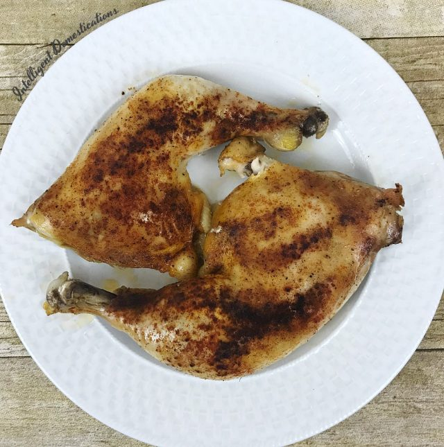 This is the recipe for Baked Chicken Leg Quarters I have always used. There are only 6 ingredients which you already have on hand. This dish is oven ready in under an hour for a crispy tender weeknight meal. #chickenrecipe