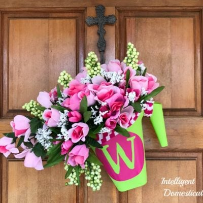 Monogrammed Spring Watering Can Wreath