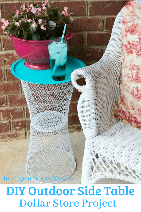 Easy DIY Outdoor Table using wire baskets from the Dollar Tree. All you need is glue and paint. An easy DIY home decor Dollar store project. #dollarstoredecor #diydollarstoredecor
