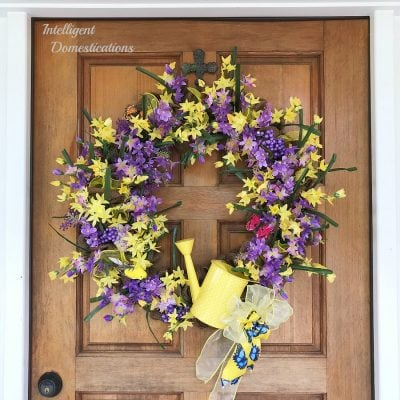 DIY Yellow & Purple Floral Summer Wreath