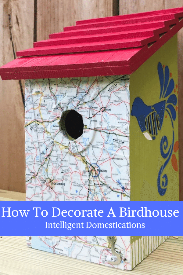 Painting Birdhouses is a fun and easy birdhouse craft for any time of the year. We have painted a whole collection of decorative birdhouses for a new fence shelf in our backyard to invite more birds to stop by. You will find several here along with the stencil and paint colors we are using for our outdoor decor. #birding #birdhouse