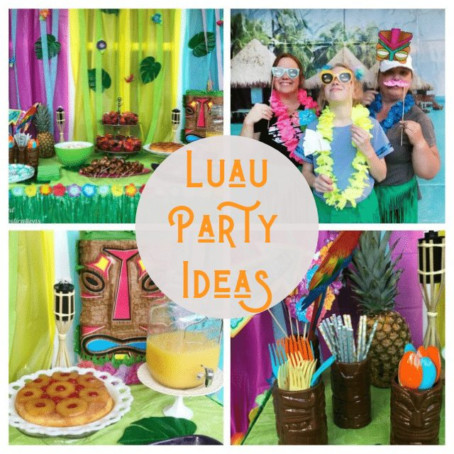 Our Luau Party was the most fun party! We set the mood with Tiki torches, Hibiscus flowers, Tropical leaves, a Tropical Cabana photo banner and a few more Tropical touches. All the details including where to buy the supplies are included. #luau #luauparty #tropicalparty #partydecorations