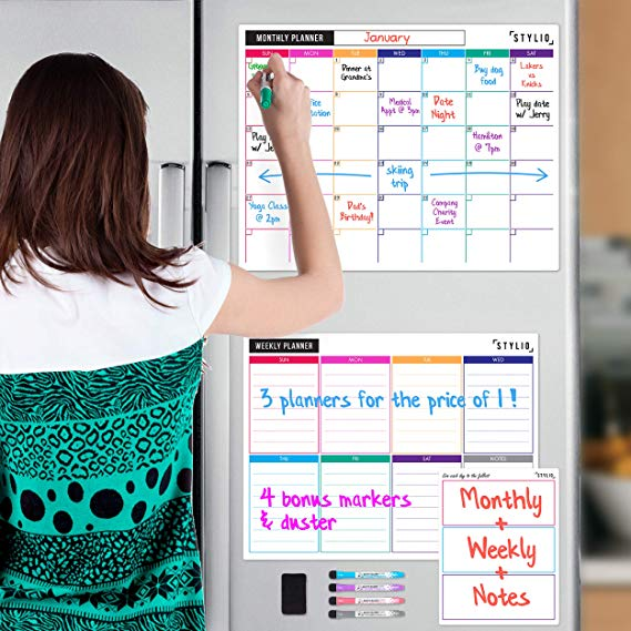 STYLIO Dry Erase Calendar Whiteboard. Set of 3 Magnetic Calendars for Refrigerator: Monthly, Weekly Organizer & Daily Notepad.