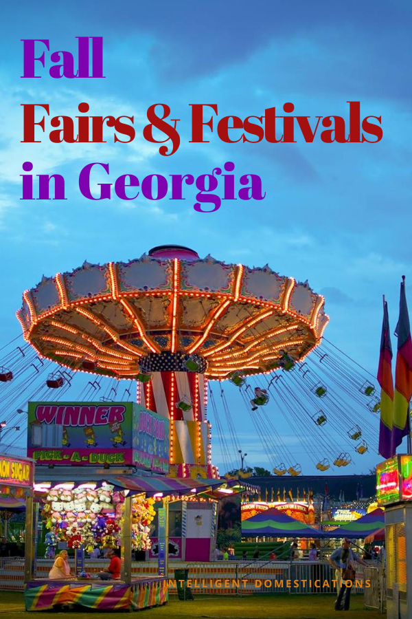 The Swings Fair Ride with Food vendors around it