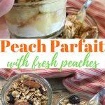 Small glass Mason jars filled with a peach parfait recipe of peaches, yogurt and granola