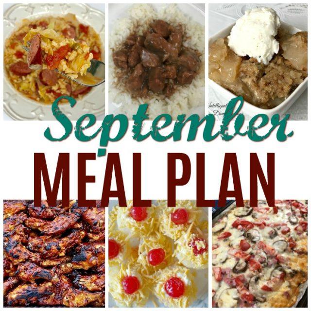 September Meal Plan. Our early Fall Meal Plan includes Crockpot recipes for Sunday dinner, dessert ideas with recipes once a week and premeditated leftovers one night each week. #mealplan