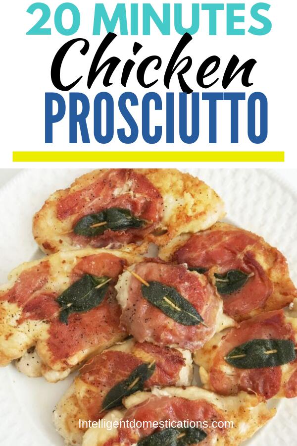 No bake Chicken Prosciutto. A quick and easy recipe ready in 20 minutes for Lightly Breaded Chicken Prosciutto.