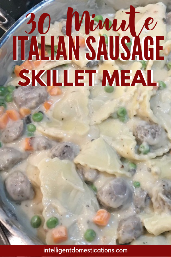 Italian Sausage and Tortellini with Vegetables Skillet Meal ready in 30 minutes. #pastadinner #30minutemeal