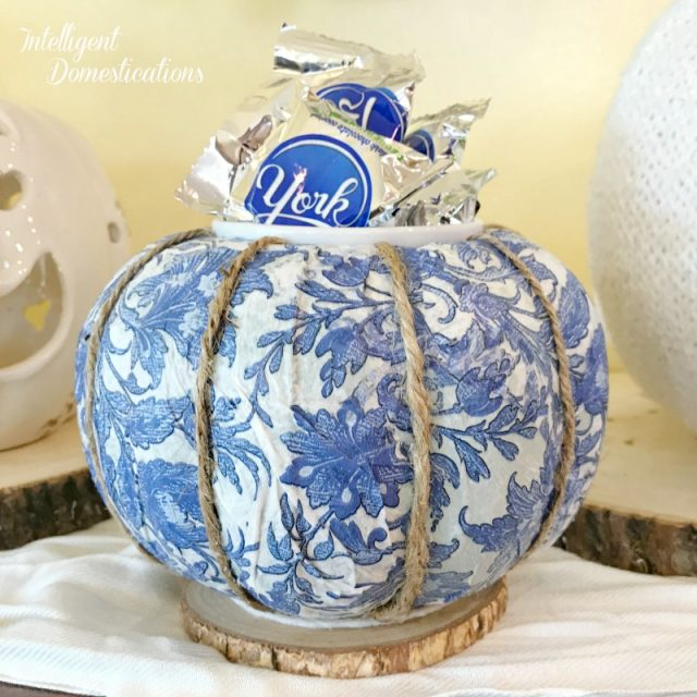 Make your own Pumpkin Candy Dish using a Dollar store Pumpkin and a pretty napkin. Decoupage Pumpkin Candy Dish