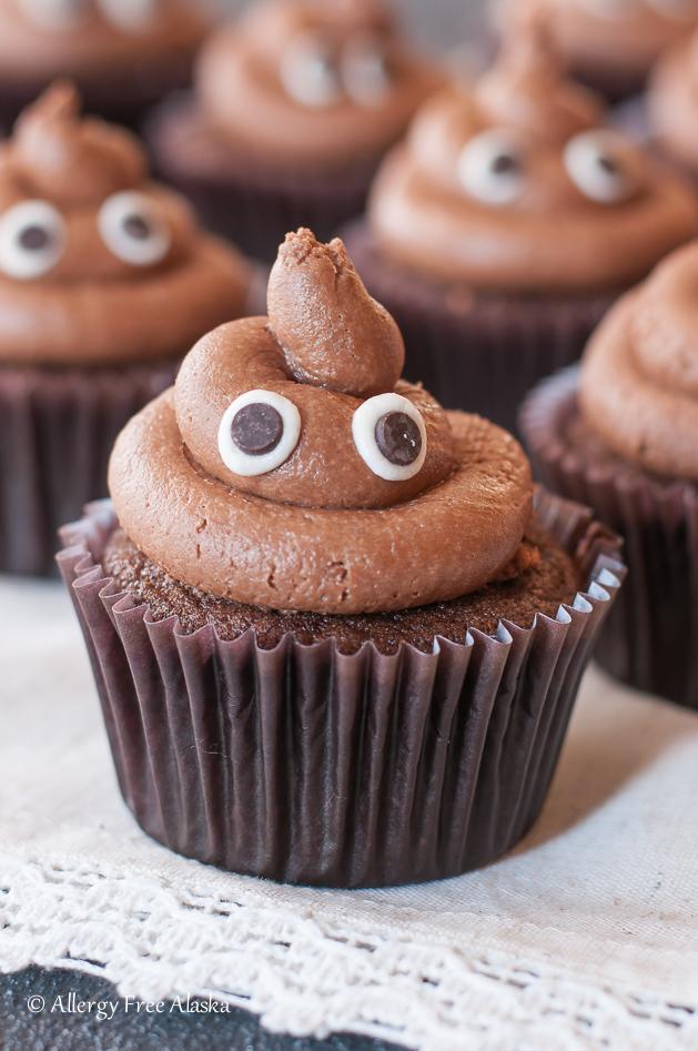 """Gluten Free """"Poopcakes"""" Poop Emoji Cupcakes - Allergy Free Alaska"""