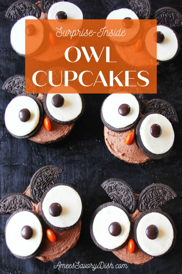 Surprise Inside Owl Cupcakes for Halloween