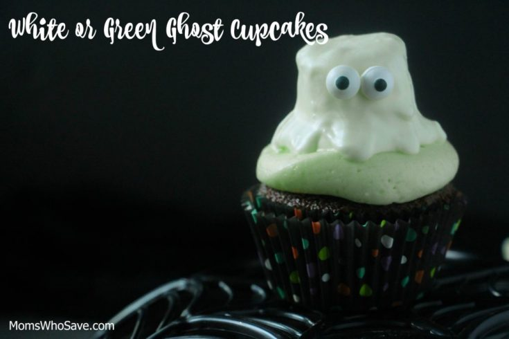 Chocolate Marshmallow Ghost Cupcakes -- White or Green