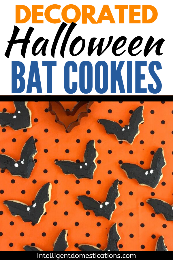 Decorated Bat Sugar Cookies for Halloween. Sugar Cookie recipe for making refrigerated cookies that can be cut out using cookie cutters. You can ice these cookies. #cookies