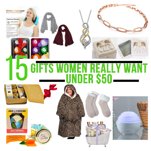 15 Gifts Women Really Want for under $50. Christmas Wish List for women. Gift Ideas for women of all ages.