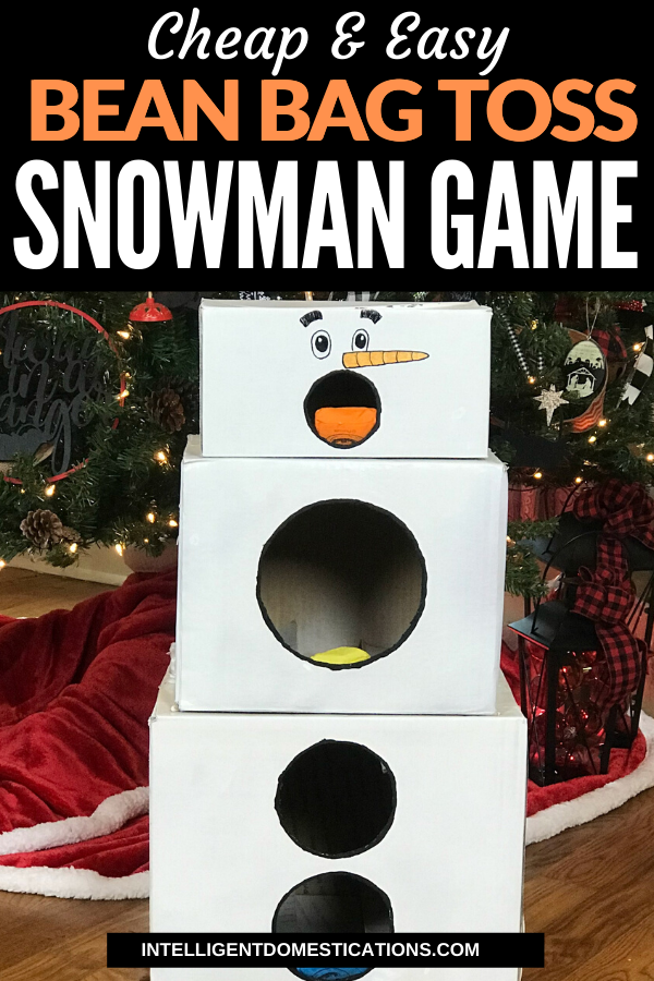 Make this cheap and easy Cardboard Box Snowman Bean Bag Toss Game for the preschoolers and toddlers to play at your Christmas party.