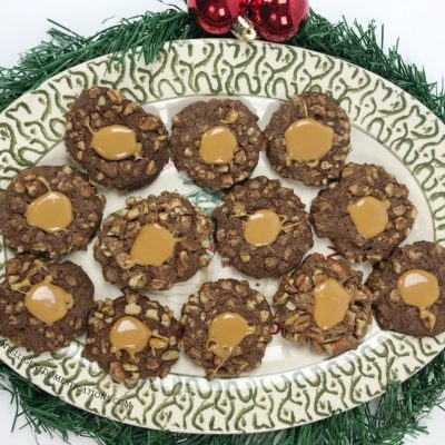 Chocolate Pecan Thumbprint Cookies