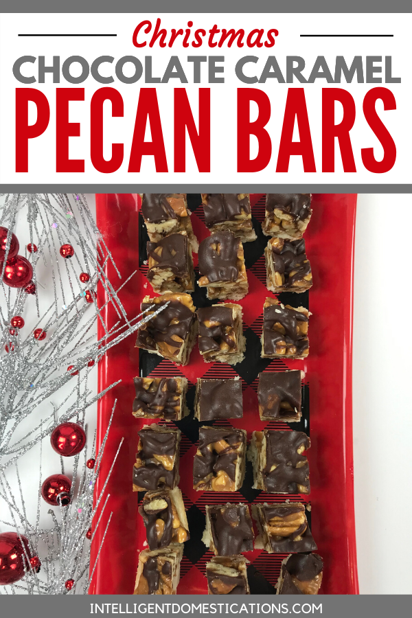Christmas Cookie Recipe for Chocolate Caramel Pecan Bars. The very best Bar Cookie ever for pecan lovers