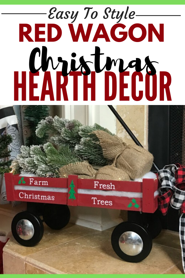 This Easy to Create Red Wagon Christmas Decor was fun to make and looks so warm and cozy on our fireplace hearth this Christmas season.