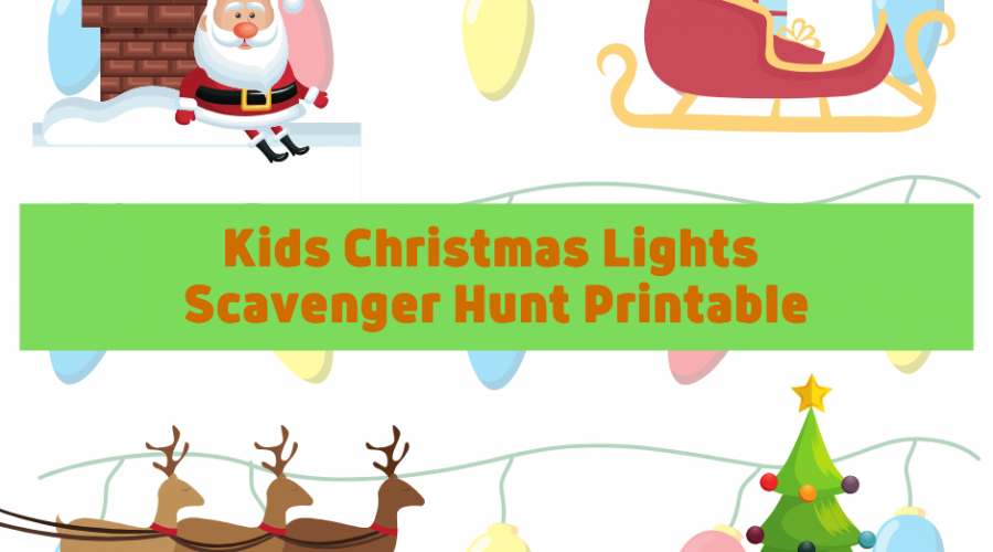 Kids Christmas Lights Scavenger Hunt Printable. This scavenger hunt is made for the little ones using pictures.