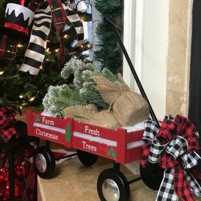 Easy To Create Red Wagon Christmas Decor
