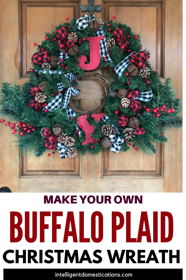 I made this Festive Buffalo Plaid Christmas Wreath for my front door. It is much more affordable to make your own wreath using craft store supplies. Let me show you how I made this one.